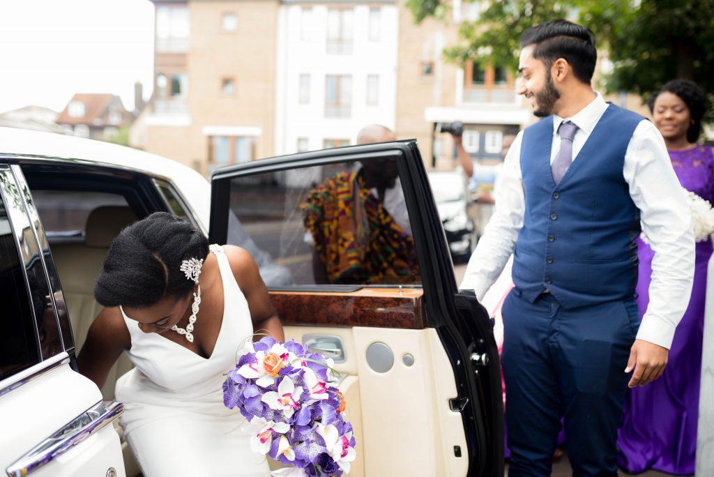 Bride arriving at her wedding, Kent & London